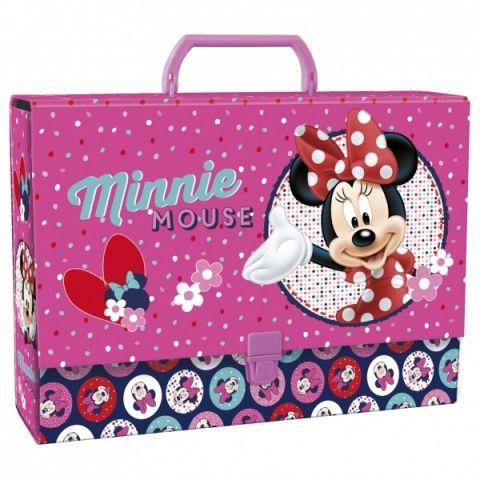 Dětský kufr MINNIE MOUSE velikost A4 tmavě růžová barva Disney