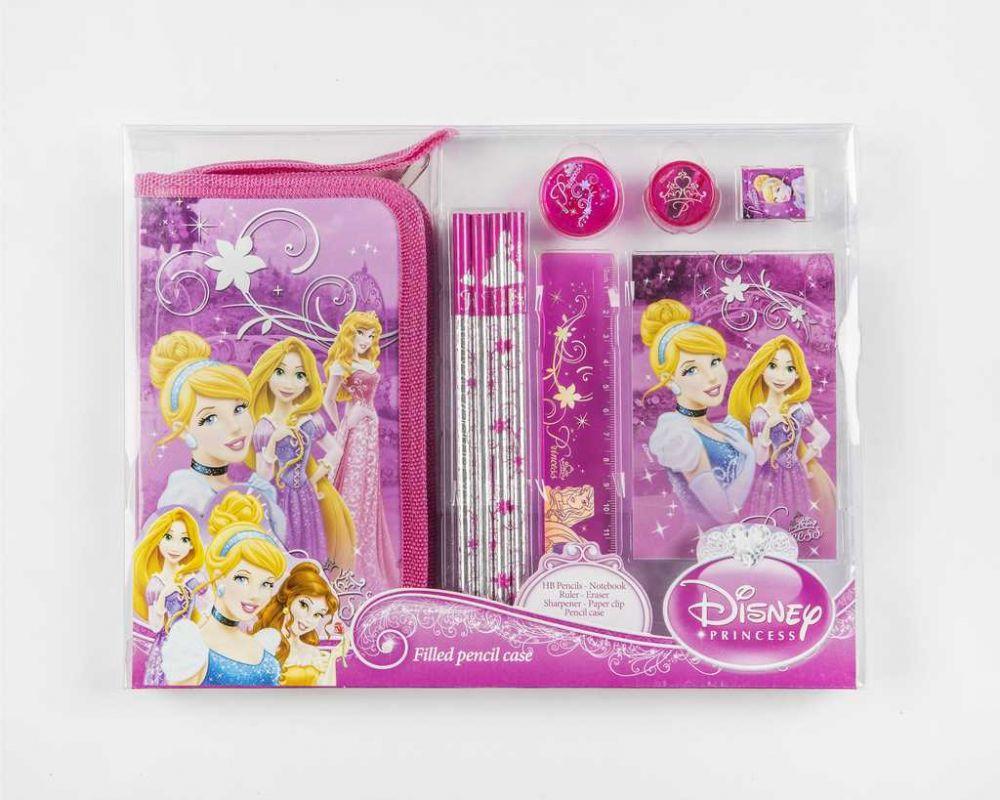 Penál výbavou a blokem Princess dívčí penál s princeznou Disney