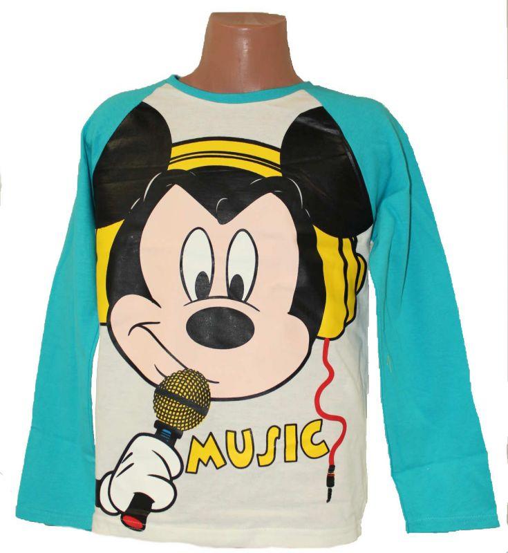 Triko dlouhý rukáv MICKEY MOUSE - bílo-tyrkysové Disney