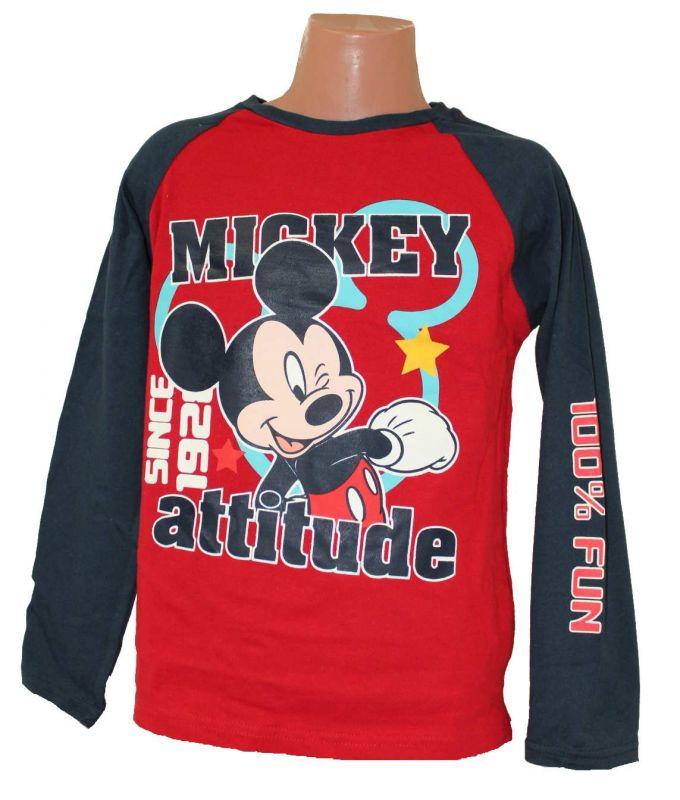 Triko dlouhý rukáv MICKEY MOUSE - červeno-modré Disney