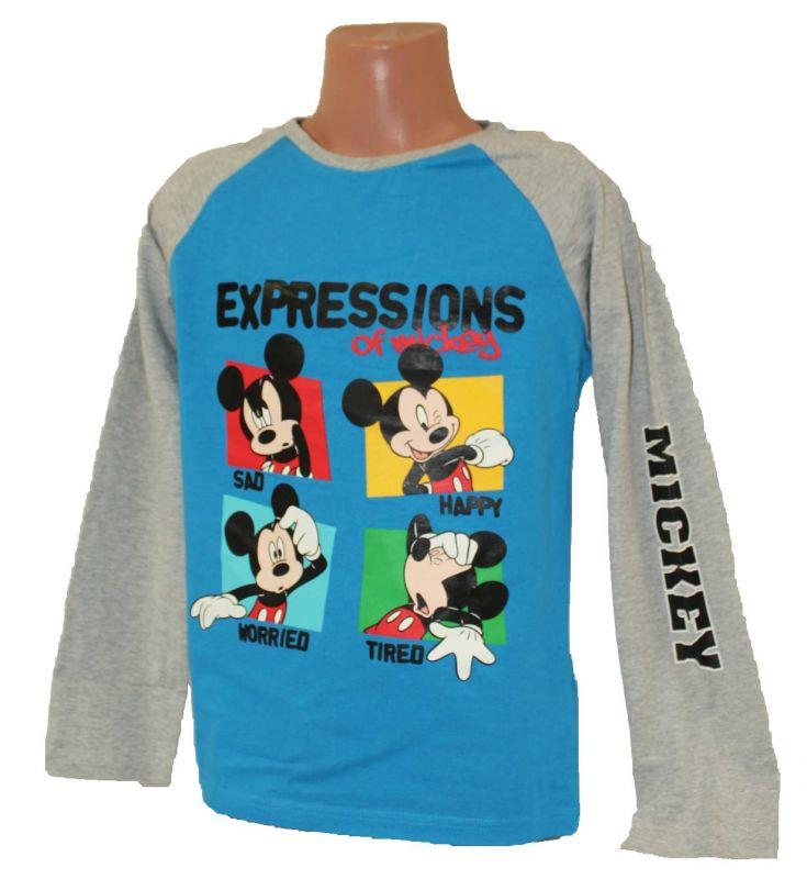 Triko dlouhý rukáv MICKEY MOUSE - modro-šedé Disney