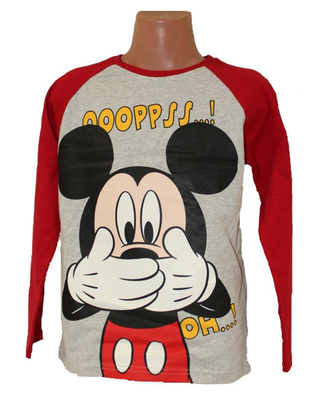 Triko dlouhý rukáv MICKEY MOUSE - šedo-červené Disney