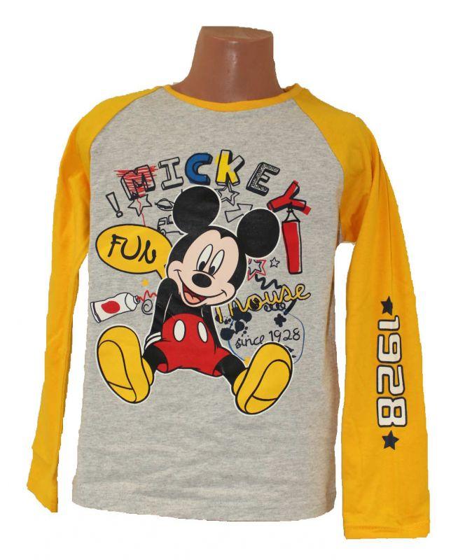 Triko dlouhý rukáv MICKEY MOUSE - šedo-žluté Disney