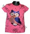 Měnící tričko, tunika kr.rukáv - sova - sv.růžové - velké