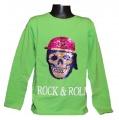 Měnící tričko, triko - dl.rukáv - chlapecké - lebka - zelené