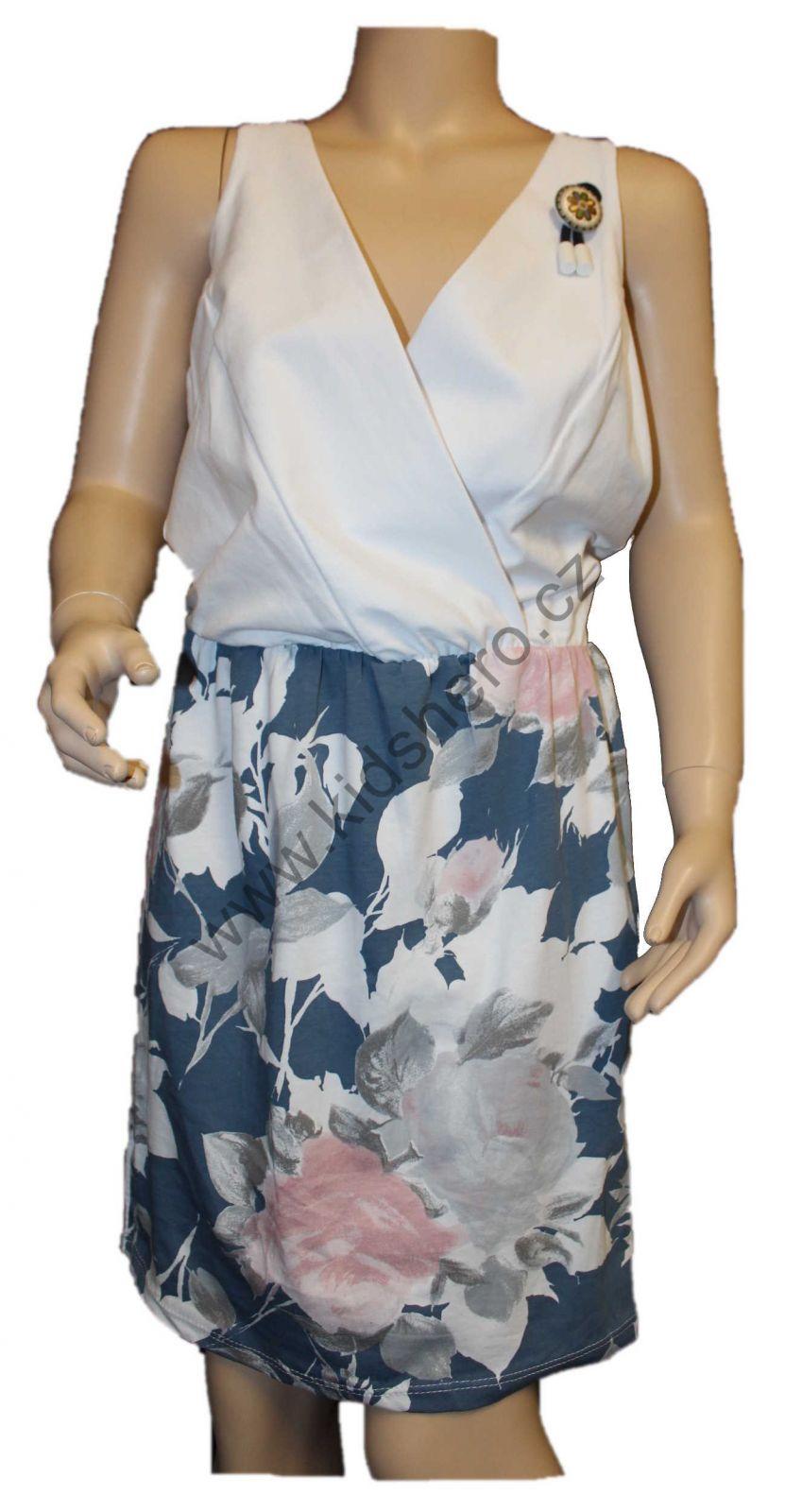 Dámské šaty modro-bílé dívčí šaty květované šaty