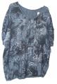 Dámské tričko/tunika se vzory - volný střih - modrá-kytky