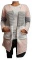 Dámský pletený kardigan - růžovo-šedo-bílý