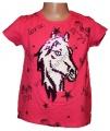 Měnící tričko, tunika kr.rukáv -  kůň - malé - tm.růžové