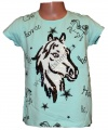 Měnící tričko, tunika kr.rukáv -  kůň - malé - zelené