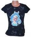 Měnící tričko, tunika kr.rukáv - kůň-Elsa - velké tm.modré