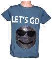 Měnící tričko kr.rukáv - chlapecké - tm.modré - míč - smajlík
