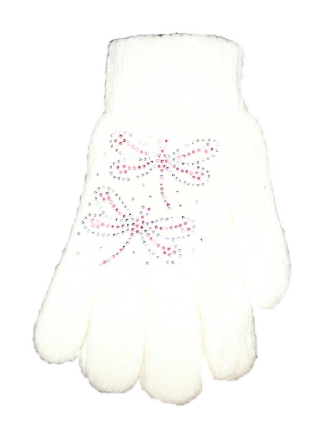 Dětské prstové rukavice, úpletové rukavice, dívčí rukavice Orchidej