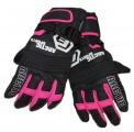 Dětské zimní, lyžařské rukavice - prstové - černo-růžové