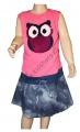 Měnící bavlněné šaty - růžovo-džínové - sova