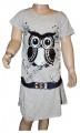 Měnící bavlněné šaty - tunika se sovou - šedá