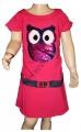 Měnící bavlněné šaty - tunika se sovou - tm.růžová