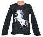 Měnící svetr s koněm - šedý