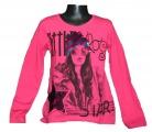 Měnící tričko, tunika - dl.rukáv - tm.růžové - hvězda