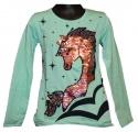 Měnící tričko, tunika dl.rukáv - zelené -velké - kůň 3