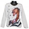 Měnící tričko, tunika dl.rukáv - šedé -velké - kůň 3