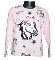 Měnící tričko, tunika dl.rukáv - sv.růžové kůň - velké