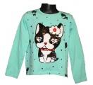 Měnící tričko, tunika dl.rukáv - zelené - pes