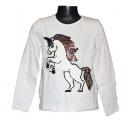Měnící tričko, tunika dl.rukáv - bílé - kůň - malé