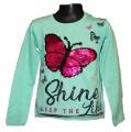 Měnící tričko, tunika dl.rukáv - zelené - motýl - malé
