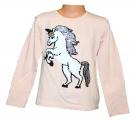 Měnící tričko, tunika dl.rukáv - lososové - Unikorn-jednorožec - malé