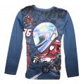 Blikací tričko s motorkou - tm.modré