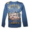 Blikací tričko s vojenským autem - tm.modré