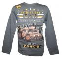 Blikací tričko s vojenským autem - šedé