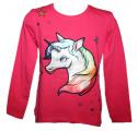 Blikací tričko Unikorn - tm.růžové