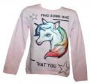 Blikací tričko Unikorn - sv.růžové