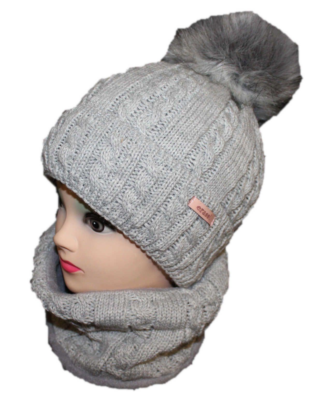 čepice a šála, čepice s bambulí šála zimní čepice zateplená čepice Erassi