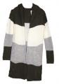Dámský pletený kardigan s kapucí - Khaki-šedo-bílý