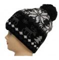 Dětská zimní čepice s bambulí - šedo-černá