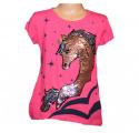 Měnící tričko, tunika kr.rukáv - jednorožec- velké - růžové