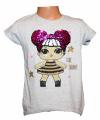 Měnící tričko LOL, tunika kr.rukáv -  s holčičkou - šedé