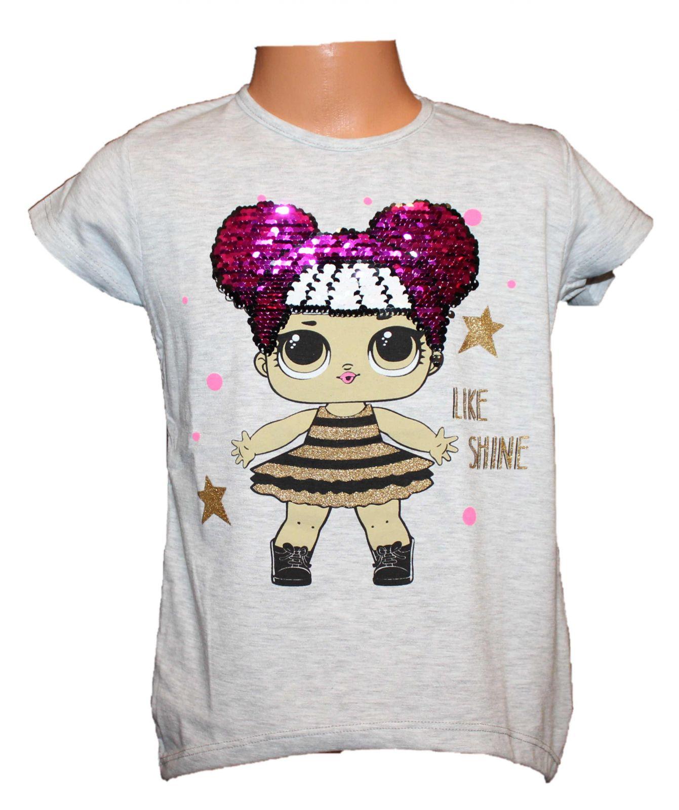 Dětské měnící tričko LOL, měnící tunika,panenka LOL, dívčí tričko s měnícím obrázkem, měnící tričko s flitry Tomurcuk