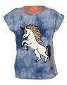 Měnící tričko, tunika kr.rukáv -  jednorožec - modré-batikované