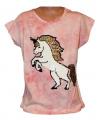 Měnící tričko, tunika kr.rukáv -  jednorožec - růžové-batikované
