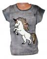 Měnící tričko, tunika kr.rukáv -  jednorožec - šedé-batikované