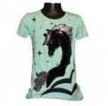 Měnící tričko, tunika kr.rukáv -  jednorožec - zelené - malé