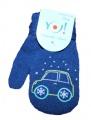 Rukavice palčáky  se šňůrkou - modré - auto