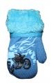 Rukavice palčáky chlupaté se šňůrkou - sv.modré