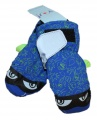 Dětské zimní rukavice - palčáky- sv.modro-zelené s očima