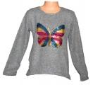 Měnící svetr s motýlem - šedé