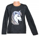 Měnící svetr s jednorožcem - Unicorn - šedý